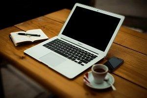 macbook air and coffee