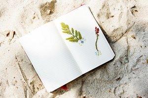 diary on a beach